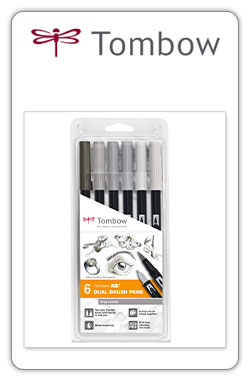 Tombow ABT  Pack ABT 6-6 -set de 6 colores grises